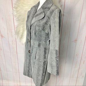 Grey Snake Print Leather coat